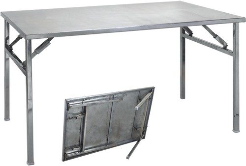 silver color stainless steel folding table rs 4800 piece id