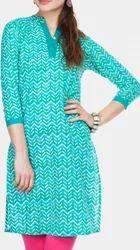 Batik Print Mint Green Kurti
