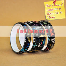 Fabric Insert Black Multi Color Resin Bangles - Custom Made