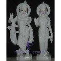 White Marble Radha Krishna Statue With Gold Ornaments