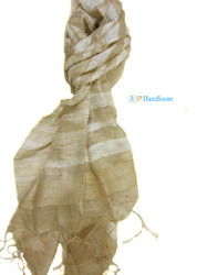 Handloom Tussar Silk Natural Stole