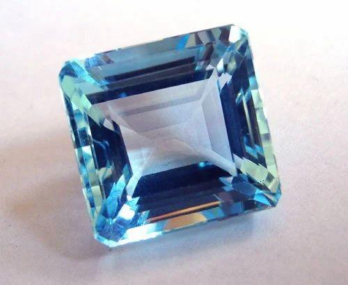 Square Octagon Emerald Cut Blue Colored Stone