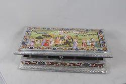 White Metal Silver Meena Dry Fruit Box