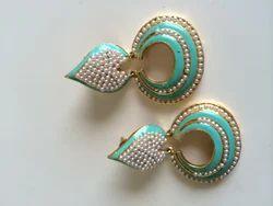 Pastel Green Moti Earrings