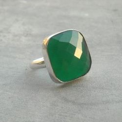 Green Onyx Gemstone Silver Ring