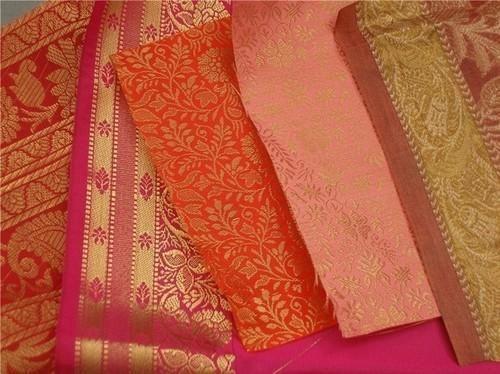 Multi Plain Brocade Silk Fabrics For Wedding Stationers Dress D