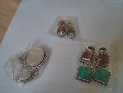Stone Earrings In German Silver