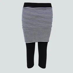 Multicolor Straight Fit Capri Spandex Skirt Leggings, Size: Large