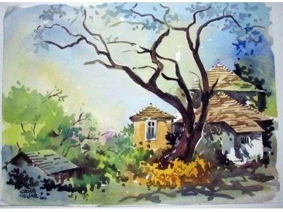 Goan Village Scene Masterpiece Water Color Paintings Items Goa