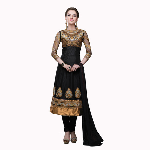 d7185f5f0b Black Net Fancy Designer Partywear Anarkali Churidar Kameez - V ...