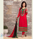 Endearing Red Embroidered Churidar Suit