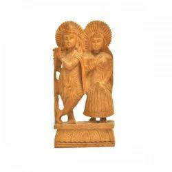 Attractive Wooden Radha Krishna Statue