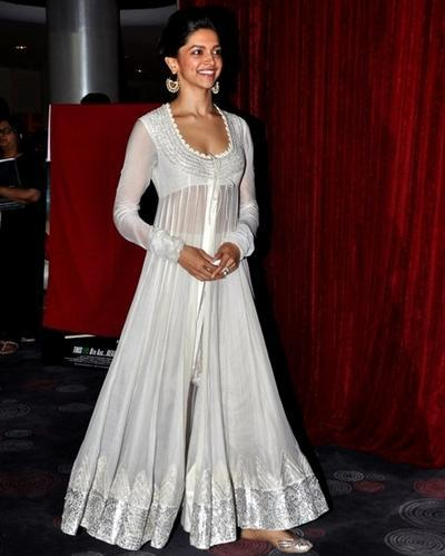 543c201030 Deepika Padukone In White Anarkali At The Launch Chaennai Ex at Rs ...