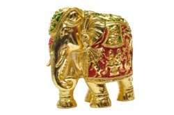 Gold  Plated Meena Elephant Size 5 Statues