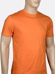 Men Lycra Cotton Orange Round Neck Tee Shirt, Size: S-L