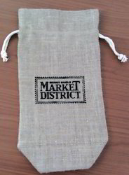 Non- Laminated Jute Wine Bag with Pull Cords