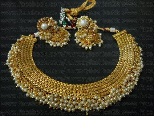 plated gold sets necklace sarees indian festivals for short jewelry online