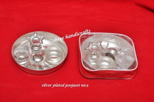 Fancy Silver Plated Articles - Pooja Set No 5 Wholesale
