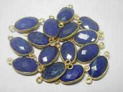 Lapis Lazuli Gemstone 925 Sterling Silver Bezel Connectors