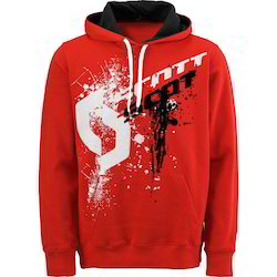 Men's Wool Red Printed Hooded T Shirts