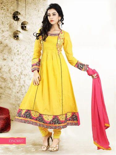 Yellow Semi Stitched Anarkali Suit