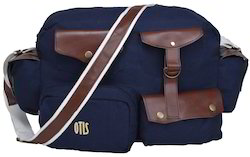 Flapper Navy Leather Portfolio Bags