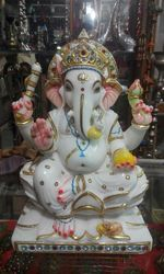 Marble Lotus Ganesha Statue