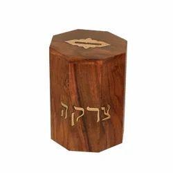 Octagonal Wooden Tzedakah Box