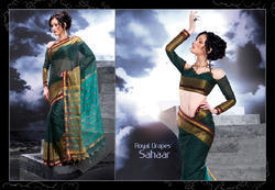 Gold Zari Stripes Cotton Traditional Saree