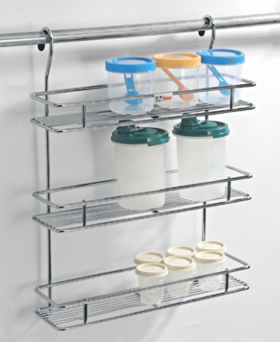Elegant Modular Kitchen Decorated Chrome Hanging Spice Rack