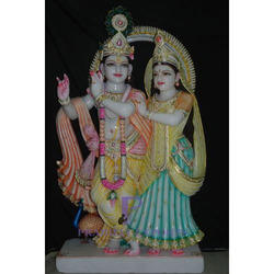 Marble Radha Krishna Statue With Background