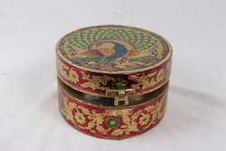 White Metal Golden Meena Round Box
