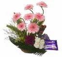 15 Flowers & 6 Cadbury Chocolaes Basket