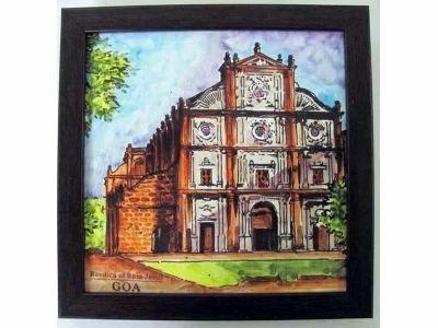 Goan Handicraft Items Basilica Bom Jesus Painting Manufacturer