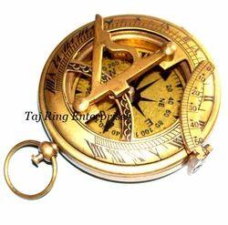 Antique Sundial Push Button Brass Compass