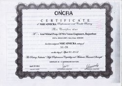 ONCRA Certificate