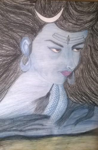Lord shiva pencil sketch