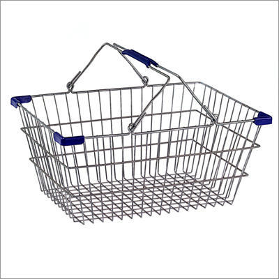 Stainless Steel Mobile Basket Wire Shopping Basket