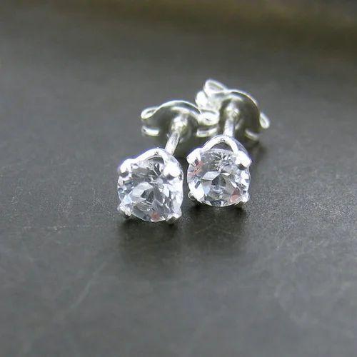 White Topaz Earrings Silver Stud 4m
