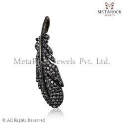 Feather Angle Wings Diamond Charm Pendant