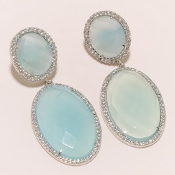 Trendy Chalcedony With CZ Earrings