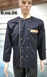 Black With Gold Piping Chef Coats