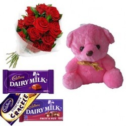 Red Roses With Teddy & Cadbury Chocolates