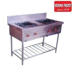 Stainless Steel Silver Two Burner Stove, For Hotel