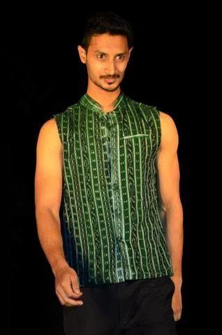 f1acc349cc2 Mens Wear - Green Handwoven Ikat Designer Nehru Jacket Manufacturer ...