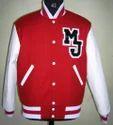 Scarlet White Varsity Jacket with MJ Patch