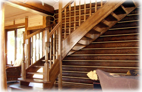 Wooden stairs and railings
