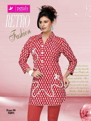 Cotton 3/4th Sleeve Short Kurti
