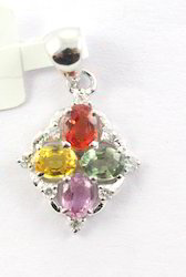 Multi Sapphire Gemstone And Diamond 18K White Gold Pendent