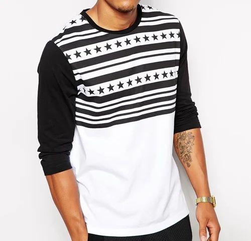 db6d8c3c Hosiery Round Neck Men Stars And Stripes Printed Full Sleeve T Shirts